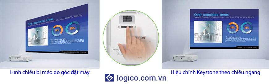 Hiệu chỉnh Keystone thủ công theo chiều ngang và tự động theo chiều dọc trên máy chiếu Epson EB-970