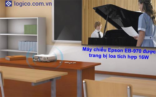 Máy chiếu Epson EB-970 được trang bị loa tích hợp 16W cho chất lượng âm thanh vượt trội