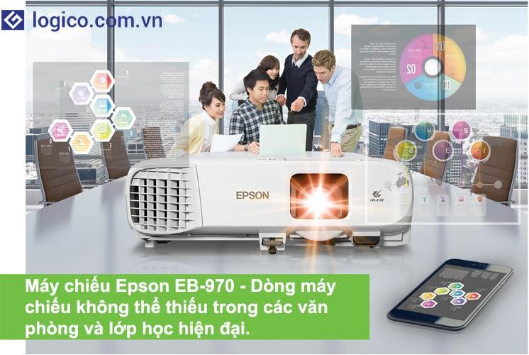 Máy chiếu Epson EB-970 có độ sáng 4.000 lumens - Dòng máy chiếu không thể thiếu cho các văn phòng và lớp học hiện đại