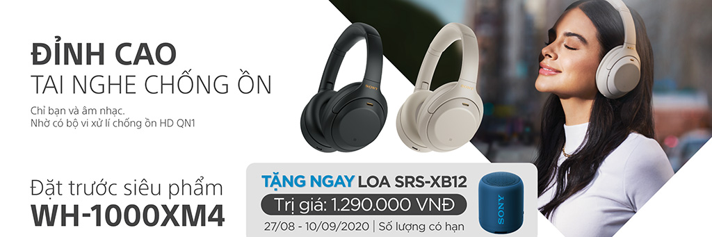 Đặt trước tai nghe Hi-Res chống ồn Sony WH-1000XM4 nhận ngay loa Bluetooth Sony SRS-XB12