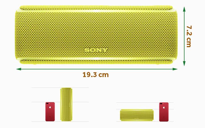 Loa Sony SRS-XB21 thiết kế với kích thước  nhỏ gọn, dễ dàng mang theo