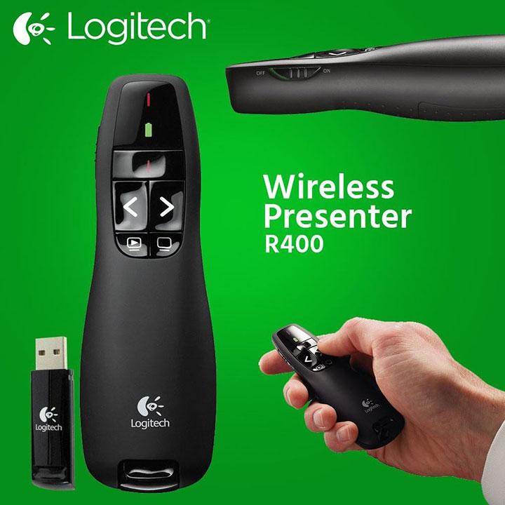 Kết nối búttrình chiếu Logitech R400 dễ dàng qua USB