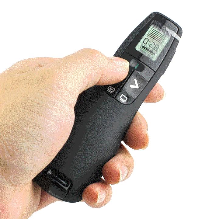 Trên thân bút trình chiếuLogitech R800 được thiết kế hai nút điều chỉnh qua lại thuận tiện