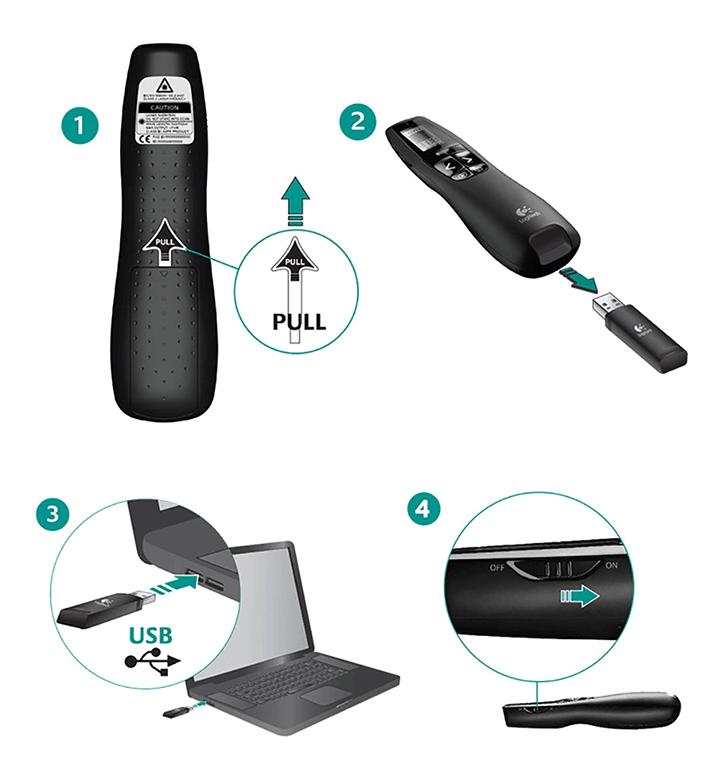 Búttrình chiếu Logitech R800 cho phép cắm đầu thu vào cổng USB để hoạt động