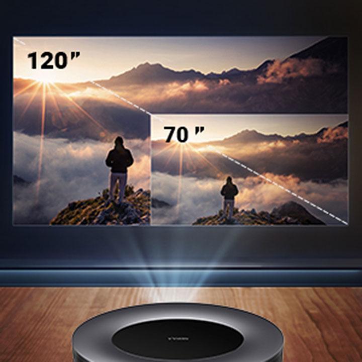 Với kích thước nhỏ gọn nhưng máy  Anker Nebula Cosmos 1080p có khả năng trình chiếu lên đến 120 inches