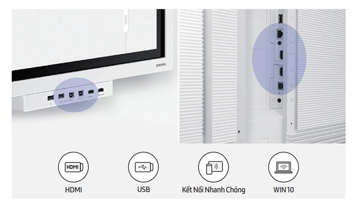 Màn hình Flip sở hữu khả năng chia sẻ màn hình và trang bị đầy đủ các cổng USB, HDMI và NFC