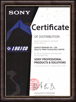 Chứng nhận nhà phân phối các sản phẩm Sony chuyên dụng
